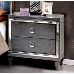 Transitional 2 Drawer Nightstand with Felt-Lined Top Drawer