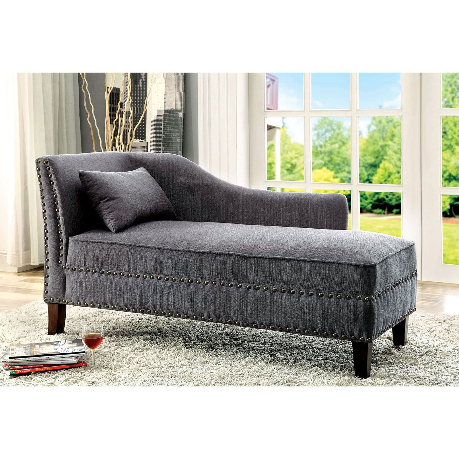 Stillwater Chaise by Furniture of America at Dream Home Interiors