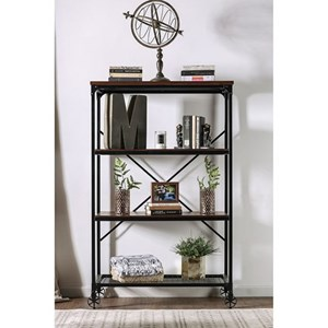 Industrial Open Bookshelf with Caster Wheels