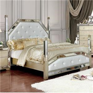 Loraine II Queen Glam Style Bed w/Mirror Panels Tufted Leatherette