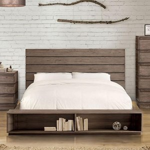 Modern Rustic King Size Bed with Bookcase Footboard