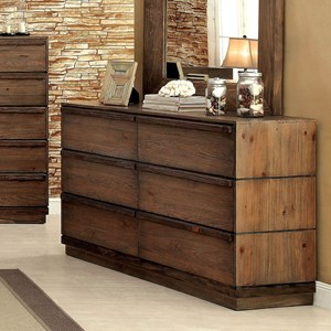 Modern Rustic 6 Drawer Dresser