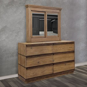Modern Rustic 6-Drawer Dresser and Cabinet Mirror Combination with Interior Shelving