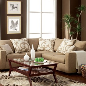 Transitional Sectional Sofa with Track Arms