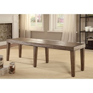 Rustic Dining Bench with Solid Wood Top