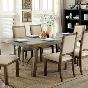Rustic 78 Inch Dining Table with Faux Concrete Insert