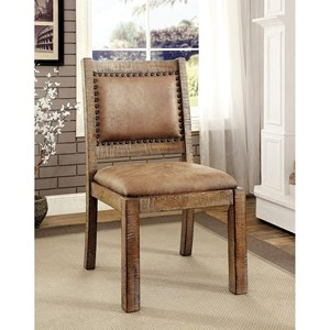 Rustic Pack of 2 Side Chairs with Nailhead Trim