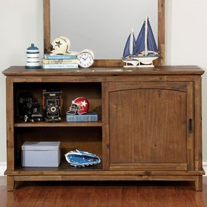 Transitional Dresser with Three Drawers and Two Shelves