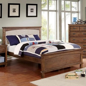 Transitional Upholstered Twin Panel Bed