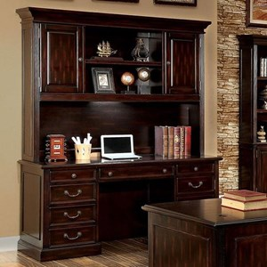 Transitional Desk and Hutch Set with Power Outlets and Display Lighting