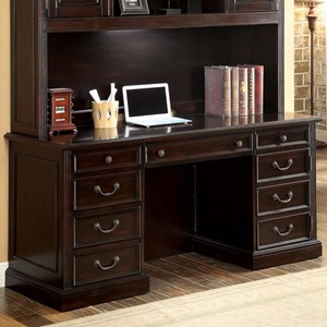 Transitional Credenza Desk with Power Outlets and File Storage