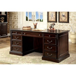 Transitional Double Pedestal Desk with Wire Management