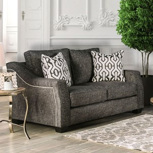 Transitional Love Seat with Sloped Arms