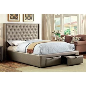 Contemporary Upholstered Queen Bed with 2 Drawers