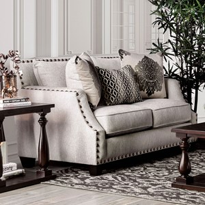 Transitional Love Seat with Toss Pillows and Large Nailheads