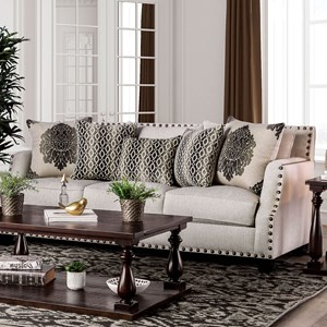 Transitional Sofa with Toss Pillows and Large Nailheads