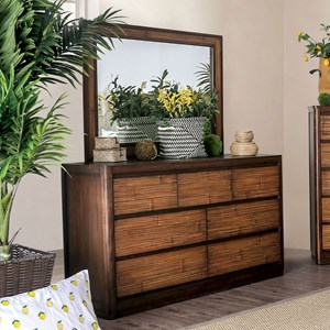 Glam 7-Drawer Dresser and Mirror Combination with Felt-Lined Top Drawers and Bamboo Paneling