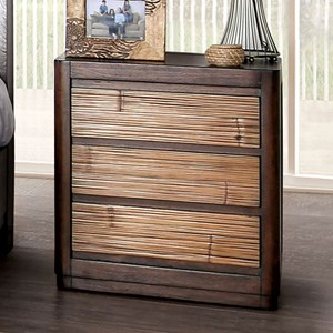 Glam Nightstand with Felt-Lined Top Drawer and USB Port