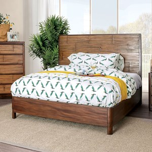 Glam Queen Panel Bed with Bamboo Paneling