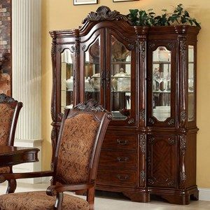 Traditional China Cabinet with Glass Shelves and Display Lighting