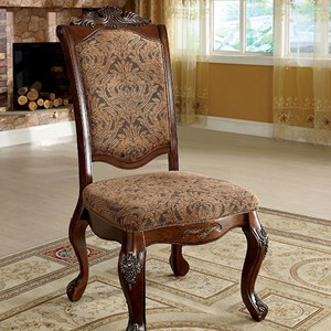 Set of 2 Traditionally Carved Dining Side Chairs
