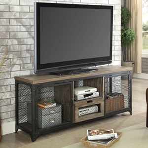 Industrial TV Stand with Wire Mesh Doors