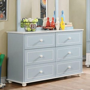 Transitional Two-Toned Dresser with Felt-Lined Top Drawers