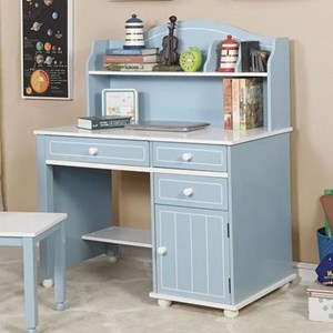 Transitional Two-Toned Desk and Hutch