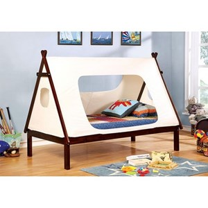 Twin Bed with Teepee-Inspired Tent Canopy