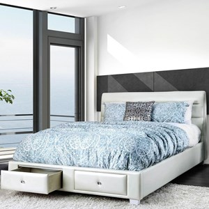 Contemporary Upholstered King Bed with 2 Footboard Storage Drawers
