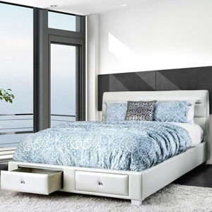 Contemporary Upholstered Queen Bed with 2 Footboard Storage Drawers