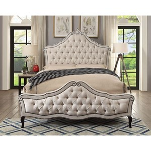 Traditional California King Bed with Tufted Upholstery