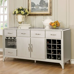 Glam Silver Server with Wine Bottle Storage and Stemware Rack