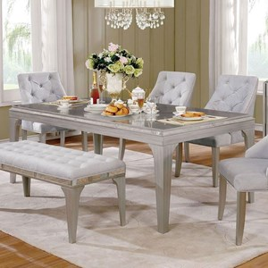 Glam Silver Dining Table with Antique Mirror Trim