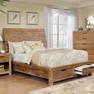 Rustic Low Profile California King Bed with 2 Storage Drawers