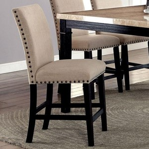 Set of Two Side Counter Stools with Nailhead Trim