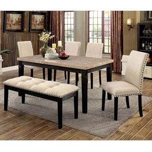 Transitional Dining Set with Bench