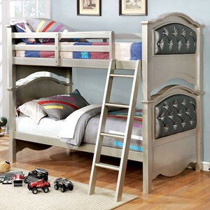 Glam Twin Over Twin Youth Bunk Bed with Faux Crystal Buttons