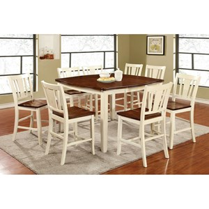 Transitional 9 Pc Counter Height Dining Set