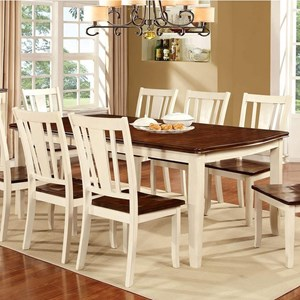 """Transitional Rectangular Dining Table w/ 18"""" Leaf"""