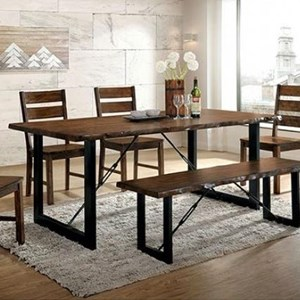 Industrial Dining Table with Metal Legs