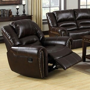 Transitional Bonded Leather Recliner with Nailheads