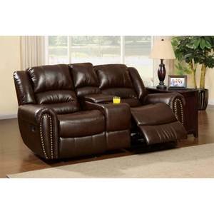 Transitional Bonded Leather Reclining Loveseat with Nailheads and Cupholder Storage Console