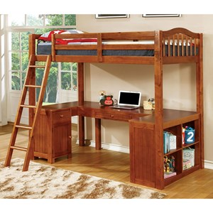 Twin Youth Loft Bed with Desk and Storage