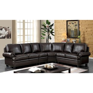 Transitional Sectional with Nailhead Trim