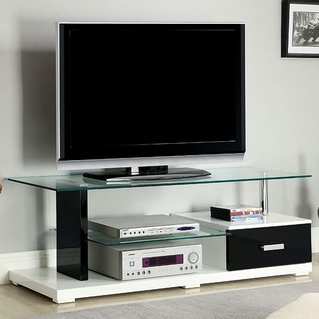 "Egaleo 55"" Glass Top TV Console by Furniture of America at Corner Furniture"