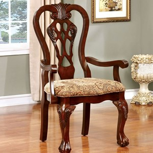 Traditional Dining Arm Chair 2-Pack with Upholstered Seat