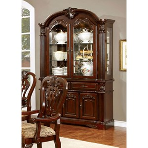 Traditional Hutch and Buffet Combination with Shelving and Storage