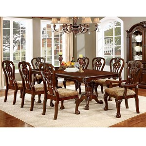Traditional 9 Piece Dining Set with Expandable Leaf