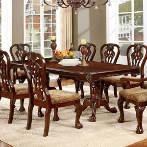 Traditional Dining Table with Expandable Leaf